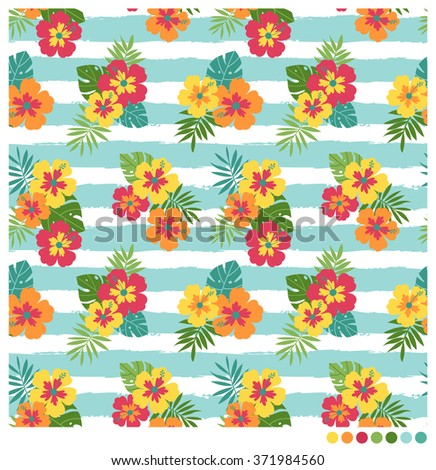 Colorful seamless vector pattern with hibiscus and palm leaves on stripes background. - stock vector