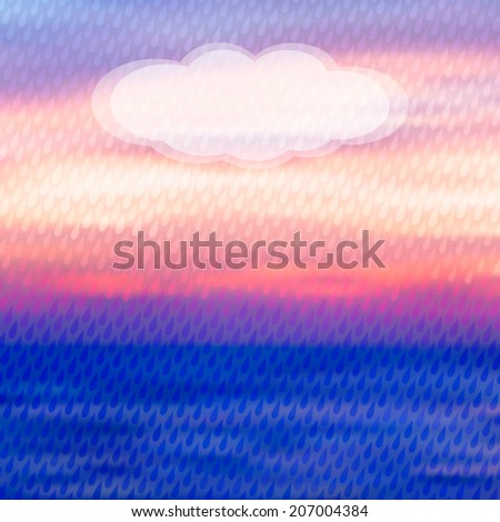 Colorful seascape rain background with drop pattern and semitransparent cloud. Vector illustration. Web and mobile template. EPS10. - stock vector