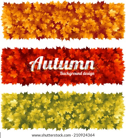 Colorful seasonal fall banners with maple leaves - stock vector