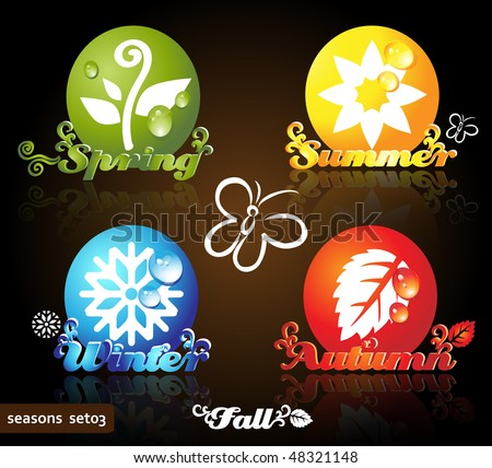 Colorful seasons icons, glossy floral design, dark background - stock vector