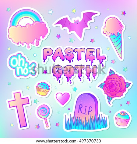 Colorful set: candies, sweets, rainbow, ice cream, tombstone, cross, lollipop, cupcake, rose, bat. Vector illustration. Stickers, pins, patches. Halloween pastel colors. Cute gothic style