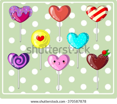 colorful set candy hearts lollipops on stick, spiral candy cane. Valentine Vector Design  - stock vector