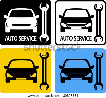 colorful set of auto service icons with car and wrench - stock vector