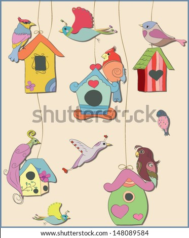 Colorful set of birds and bird houses. Vector eps10.