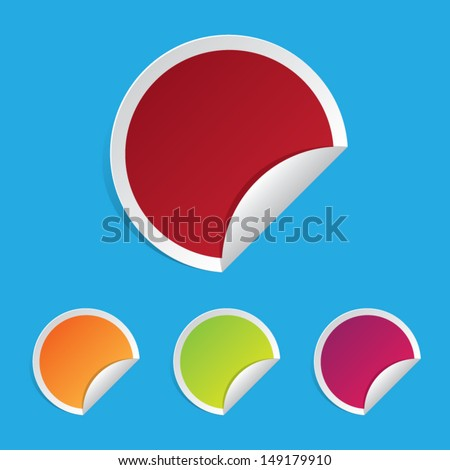 Colorful Set of Blank Folded Labels - stock vector