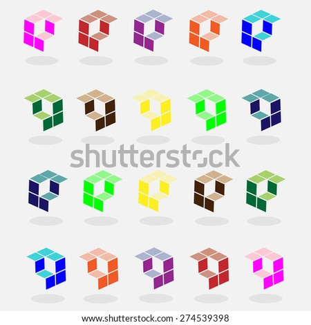 colorful set of cubic logo and arrow vector  - stock vector