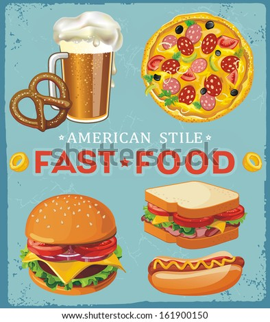 Colorful set of fast food on a blue background - stock vector