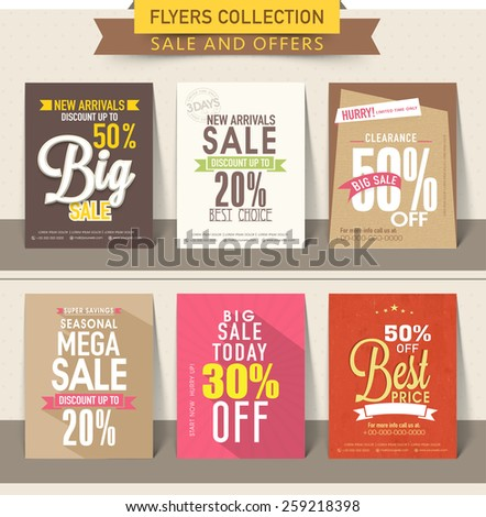 Colorful set of flyer or brochures with discount offer.. - stock vector