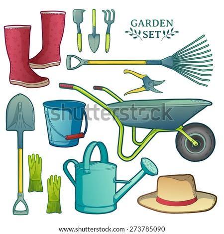 Colorful set of garden tools. Instruments, hat, wheelbarrow, gloves. vector - stock vector