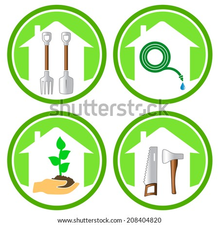 colorful set of gardening concept icons on white background