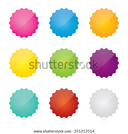 Colorful Set of Glossy Blank Star Badges - stock vector