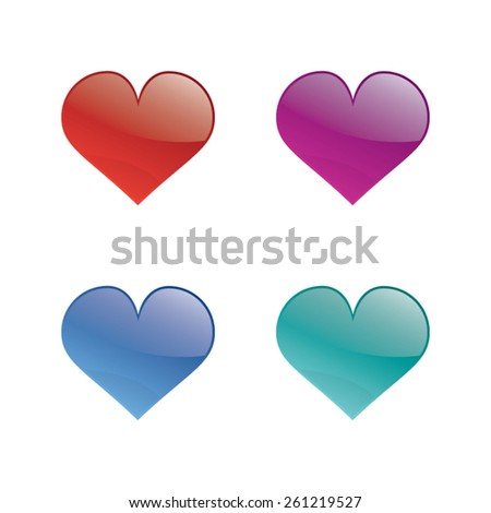 Colorful Set of Glossy Hearts