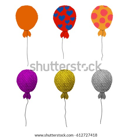 Colorful set of hand drawn balloons isolated on white background. Gold, violet, orange, silver, purple, red with hearts, yellow with grunge polka dot air balloon.  Vector illustration.