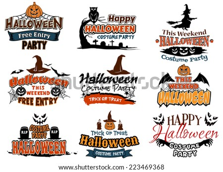 Colorful set of Happy Halloween designs with various text decorated with witches, bats, owl in a tree, graveyard, jack-o-lanterns, ghosts and tombstones - stock vector