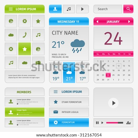 Colorful set of mobile interface elements. Calendar and weather forecast with video player and members. - stock vector