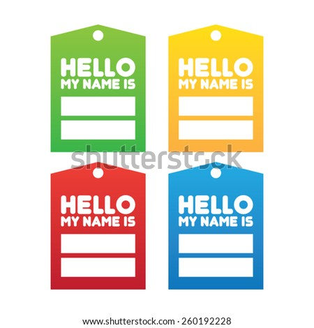 Colorful Set of Name Tags - stock vector