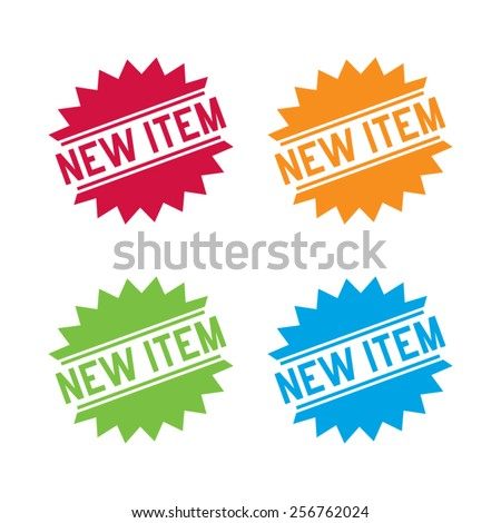 Colorful Set of New Items Labels - stock vector
