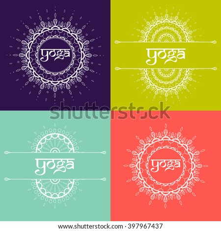 Colorful set of oriental mandalas. Vector logotype for yoga club or oriental shop. Round ornament lace