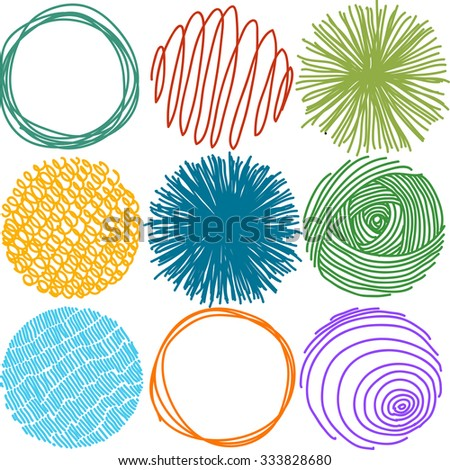 Colorful set of pencil hand drawn doodle circles, vector - stock vector
