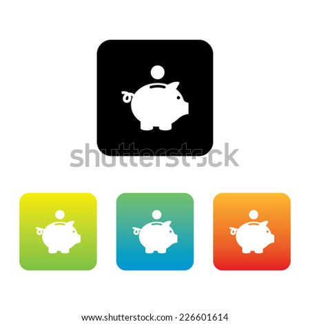 Colorful Set of Piggy Bank Icons - stock vector