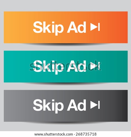 Colorful set of skip ad buttons - stock vector