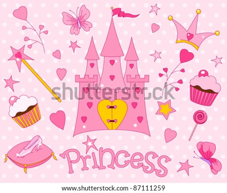 Colorful set of Sweet Princess Icons - stock vector