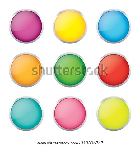 Colorful Set of Vector Buttons or Blank Icons