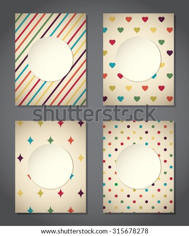 Colorful set of vintage cute backgrounds - stock vector