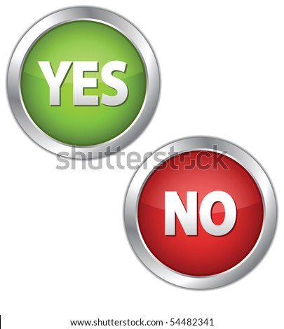 Colorful set of Yes/No buttons - stock vector