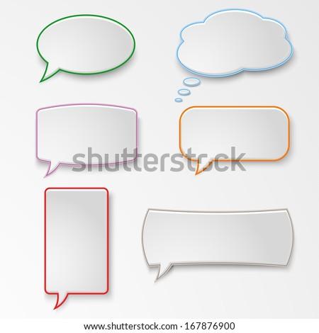 Colorful set speech bubbles - stock vector