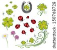 Colorful shamrocks design elements with ladybug - stock vector
