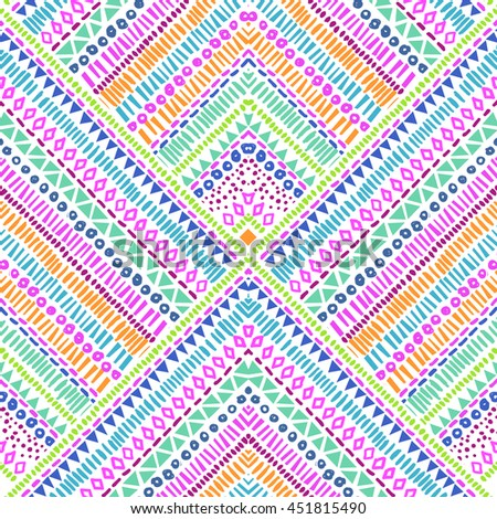 Colorful shape lines in large squares ~ seamless background