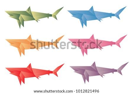 Colorful Shark Origami Vector Stock Vector 1012821496 Shutterstock