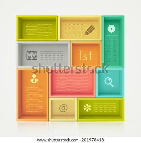 Colorful shelves for design, eps 10 - stock vector
