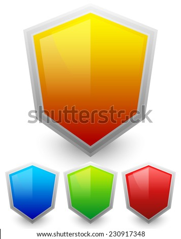 Colorful shields - stock vector