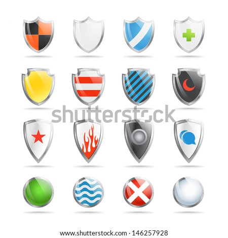 Colorful shields collection isolated on white - stock vector