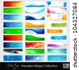 Colorful shiny banners or website headers with abstract wave and circle concept.EPS 10. Vector illustration. - stock vector