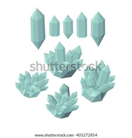 Colorful shiny bright crystals.  Polygon stone mineral and poly  shape rocks. Emerald crystal, ruby crystal, tourmaline crystal, quartz crystal, diamond crystal isolated vector - stock vector