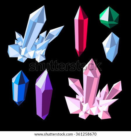 Colorful shiny crystal set on black purple amethyst, blue topaz,  green emerald,  pink quarz, red ruby, and white diamond - stock vector