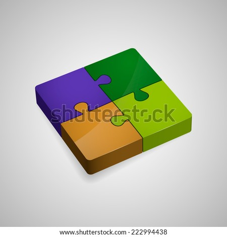 Colorful shiny 3D puzzle (four pieces). Isolated on white background. Vector illustration, eps 10. - stock vector