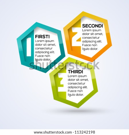 Colorful shiny hexagon business template for your design. Vector illustration. - stock vector