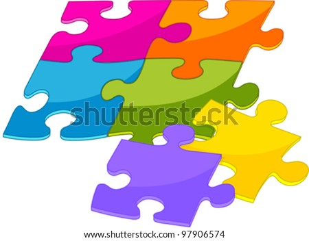Colorful shiny puzzle pieces