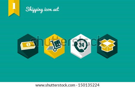 Colorful Shipping flat icon set, payment delivery purchase online app. Vector file layered for easy editing. - stock vector