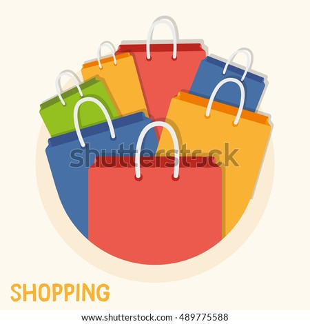 Colorful shopping bags for posters, flyers, website or anywhere business related image needed. Vector graphic design elements.