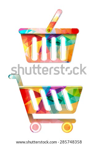 Colorful shopping icons.Trolley and basket. - stock vector