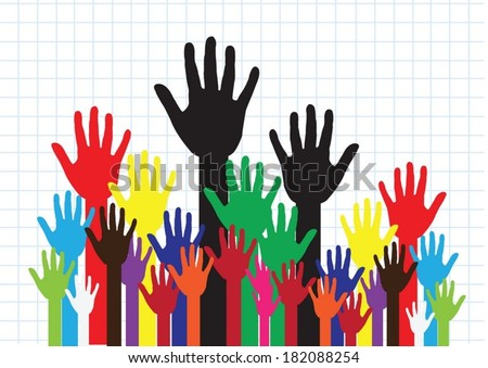 colorful silhouette hands background design - stock vector