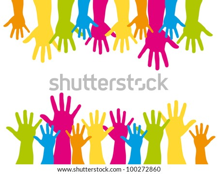 colorful silhouette hands over white background. vector - stock vector