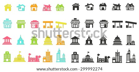 Colorful silhouette house, church, shop, office industrial building, and other public construction architecture flat icon set with no shade, create by vector  - stock vector