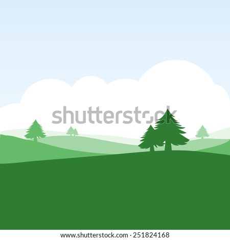 colorful silhouette landscape of countryside for graphic design and website