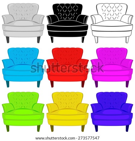 Colorful, silhouette, white armchairs. Vector illustration of  set of armchairs